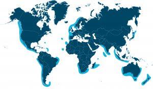 Distribution de la houle (en vert zones très favorables)